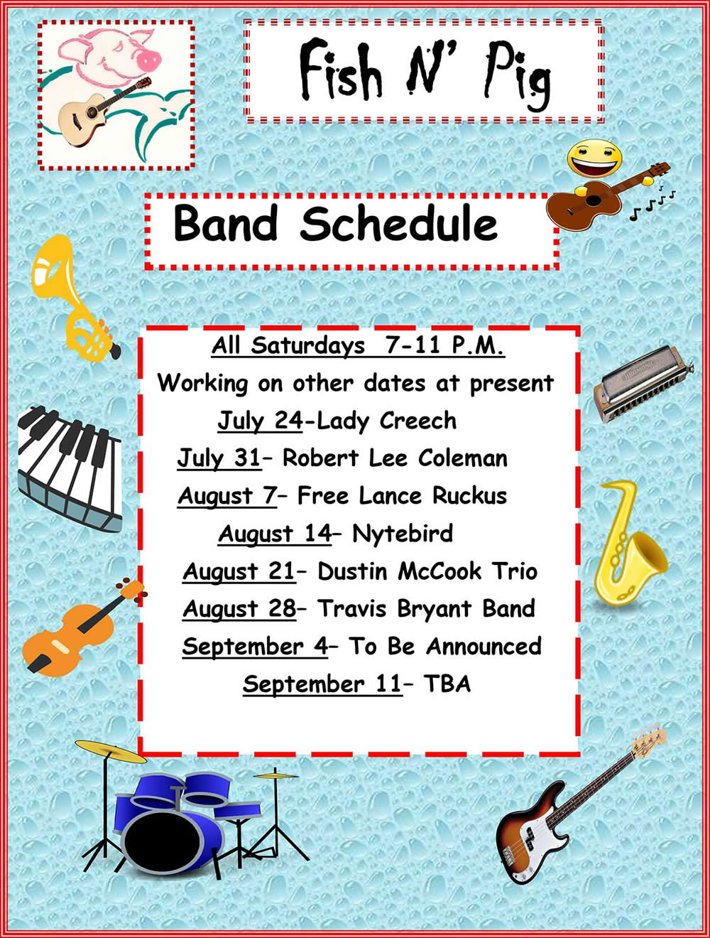 2021 Band Schedule
